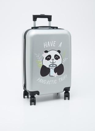 Пластиковый чемодан маленький ручная кладь с пандой
