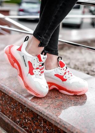 Кроссовки balenciaga triple-s clear sole white/red кросівки