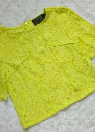 Неоновый лимонный топ футболка кружево