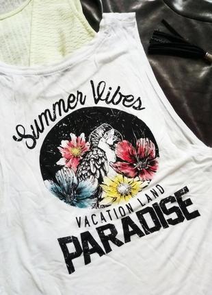 Топ майка винтажная с цветочным принтом summer vibes