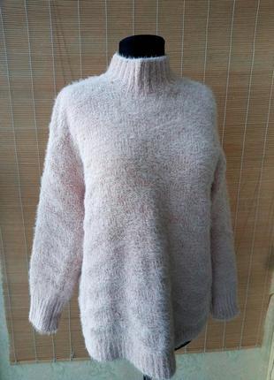 Комбинированный велюровый свитер травка
