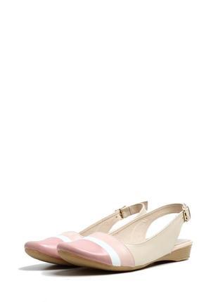 Босоножки на низком ходу с закрытым носком розовые