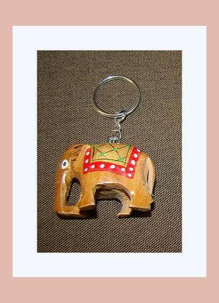 Деревянный брелок слоник расписной
