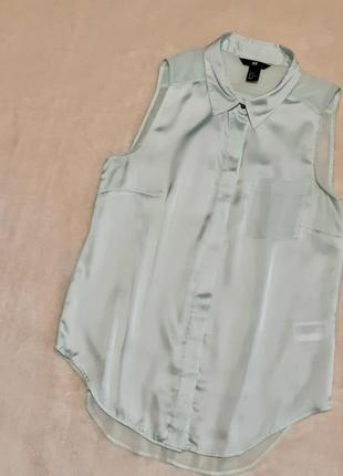 Рубашка тонкий атлас-шифон цвет мяты размер 8-10 h&m