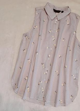 Рубашка хлопок в полоску вышивка ромашки размер 16-18 dorothy perkins