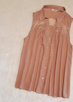 Свободная рубашка с кружевом цвета пудры размер 16-18 new look