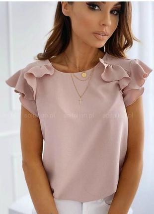 🔝 блузка пудра с воланами💋цвета👑супер цена