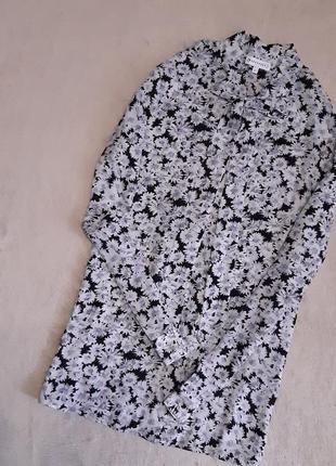 Шифоновая рубашка в цветы воротник завязки бант размер 10-12 warehouse