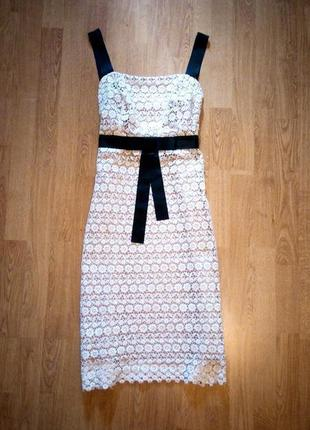 Платье бежевое с чёрным кружевное миди фирменное оригинал bravissimo