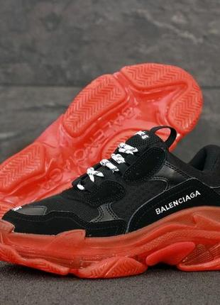 Кроссовки женские кожаные баленсиага черные с красной подошвой