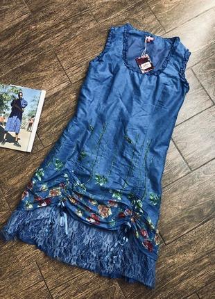 Большое романтичное платье синее в розочки ленточки и кружева joe browns новое
