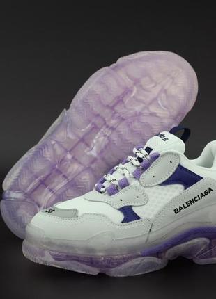 Кроссовки женские кожаные баленсиага белые с фиолетовым