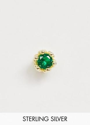 """🍀👦одиночная серебряная позолоченная серьга """"корона"""" с зеленым кристаллом от serge denimes"""