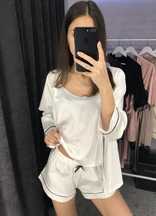 Красивый шёлковый комплект 4в1 шёлковая пижама