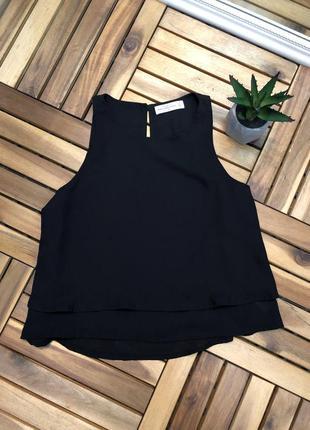 Легкая шифоновая майка блуза черная