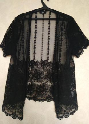 Кружевная прозрачная кружево накидка кардиган кимоно бренда new look inspire,р.24