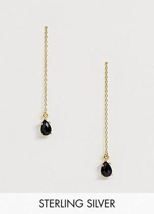 💥🔥 серебряные позолоченные серьги цепочки-протяжки с темными кристаллами от asos оригинал