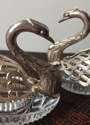 Серебро лебеди + серебро ложечки. италия спецовники.