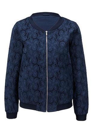 Хлопковая куртка бомпер с ажурной цветочной вышивкой tcm tchibo,50-52 наш