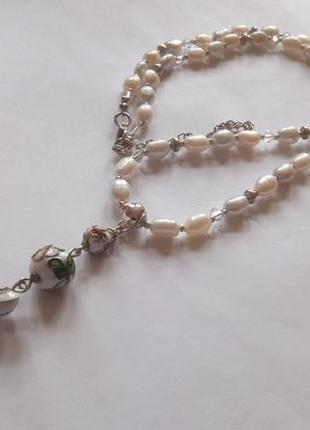 Ожерелье с подвеской, речной жемчуг, клуазоне.
