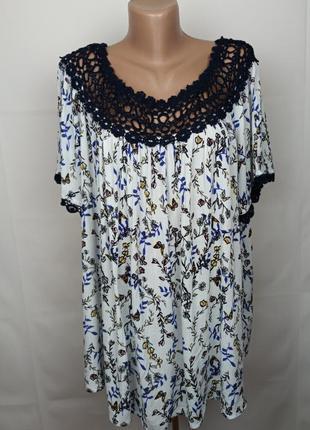 Блуза красивая цветочная натуральная большого размера uk 22/50/4xl