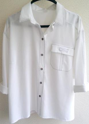 Натуральная блуза рубашка с оригинальным дизайном