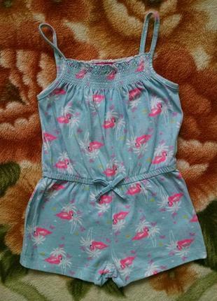 Стильный ромпер,комбинезон с фламингами для девочки 3-4 года