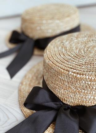 Соломенная шляпа канотье с бантом2 фото