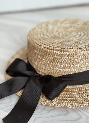 Соломенная шляпа канотье с бантом4 фото