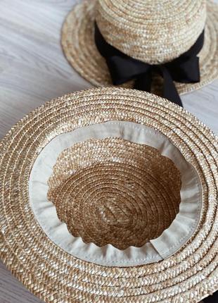 Соломенная шляпа канотье с бантом6 фото