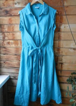 Обалденное льняное платье бирюзовое с карманами
