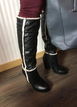 Сапоги ботфорты устойчивый каблук новые