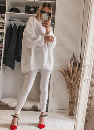 Новый лёгкий белоснежный оверсайз свитер