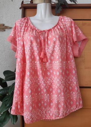 Трикотажная блуза-футболка с кружевом, нежный лососевый цвет, натуральные волокна