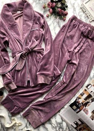 Красивый лиловый плюшевый велюровый костюм для дома домашний костюм
