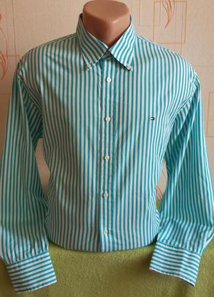 Оригинальная белая рубашку в бирюзовую полоску tommy hilfiger made in laos