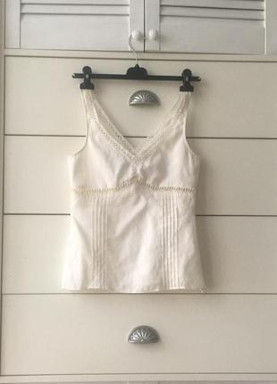 Летний топ лен винтажная льняная блуза мережка прошва винтаж coast англия