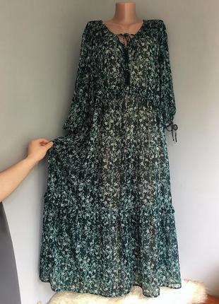 Платье в стиле бохо, свободный крой оверсайз, с рукавом.