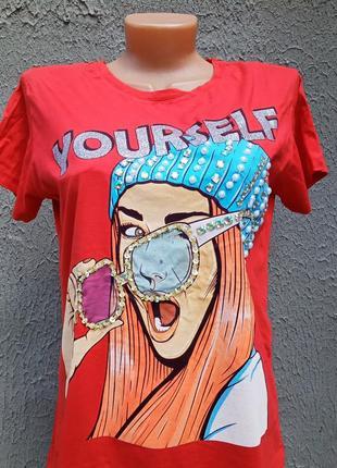 Натуральная футболка со стразами турция