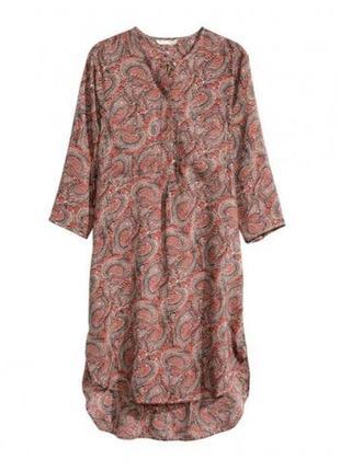 H&m легкая вискозная удлиненная блуза туника, р. 38