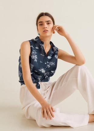 Очень красивая хлопковая рубашка, блуза без рукавов mango
