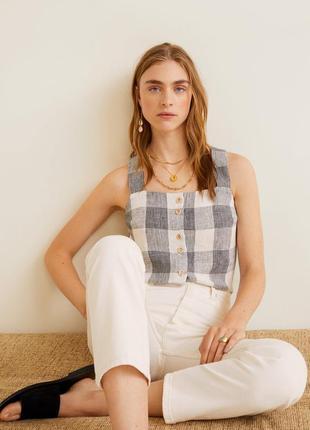 Майка, блуза из 100% льна, льняная блуза, лён