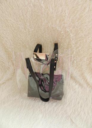 Прозрачная сумка с косметичкой разные цвета