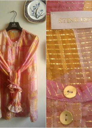 Эффектная шелковая блуза с люрексом/ шелк 100%  stine gоya/ дания