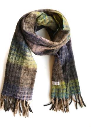 Тёплый мягкий шарф в клетку датского бренда tif tiffy в стиле cos