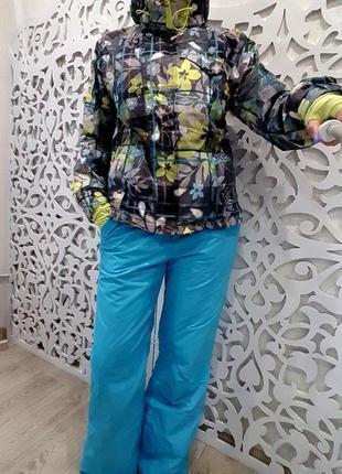 Лыжный костюм s/m комплект штаны куртка женский цветной голубой+салатовый