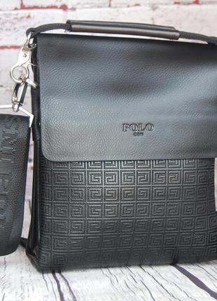 Небольшая мужская сумка - планшет polo с ручкой.мужская барсетка. кс64