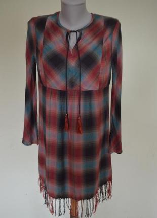 Шикарное натуральное платье-туника в красивую клеточку с бахромой