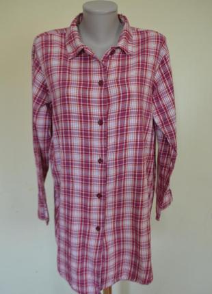 Красивая легкая котоновая рубашка-блуза в клеточку удлиненная
