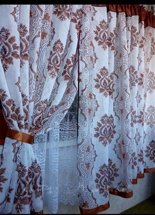 Кухонная штора с тюлем, кухонная занавеска с тюлем